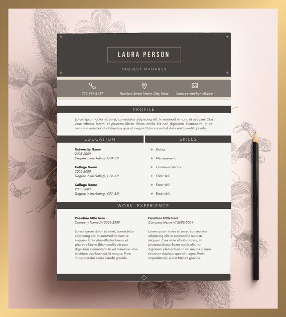 Creative Resume Template Editable in MS Word and Pages by CVdesign - resume template editable