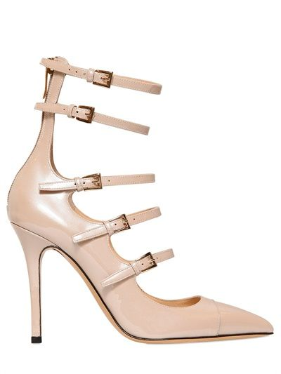 965063924c72 SEMILLA - 100MM BELTED GLOSSY PATENT LEATHER PUMPS  443.00