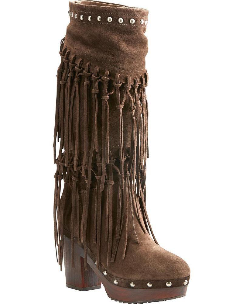 Ariat Women/'s Music Row Dark Suede Fringe Boot 10021648 Round Toe