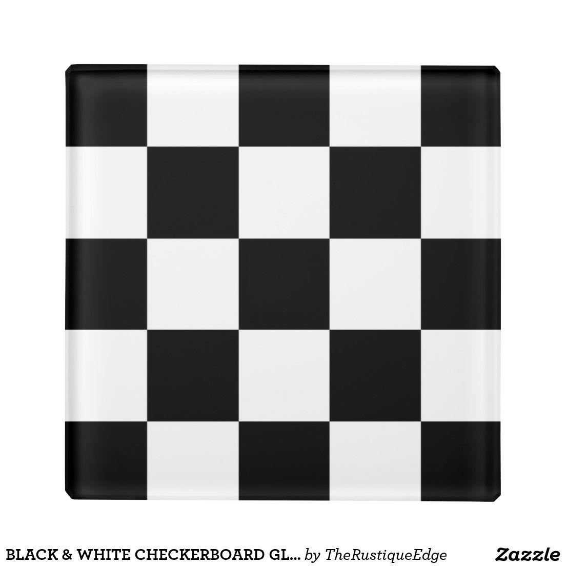Black White Checkerboard Gl Coaster
