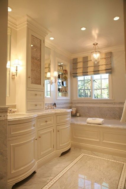 Small Bathroom Sink >> love the cream cabinets; marble floor with white inset; looks like grey cream roman blinds in ...