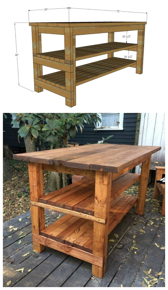 Rustic Kitchen Island - Built by House Food Baby