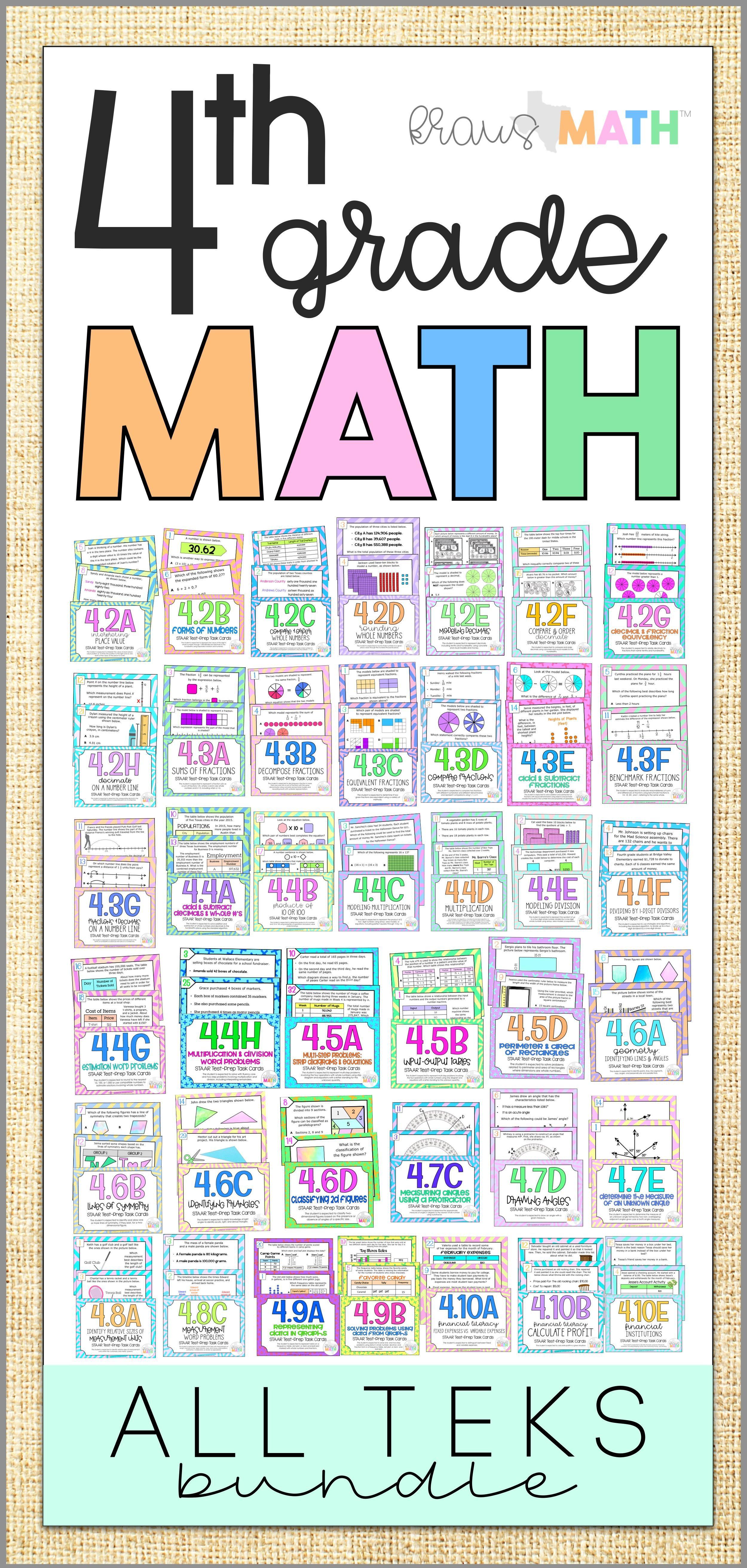 4th Grade Math STAAR Test Prep Task Cards: ALL TEKS Bundle ...