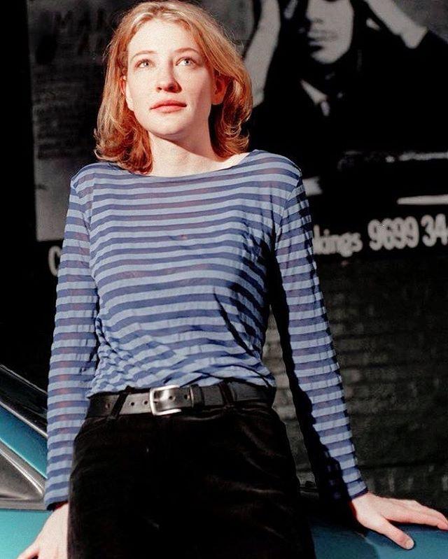 Cate Blanchett In Muted Stripes Catherine Elise Blanchett Cate