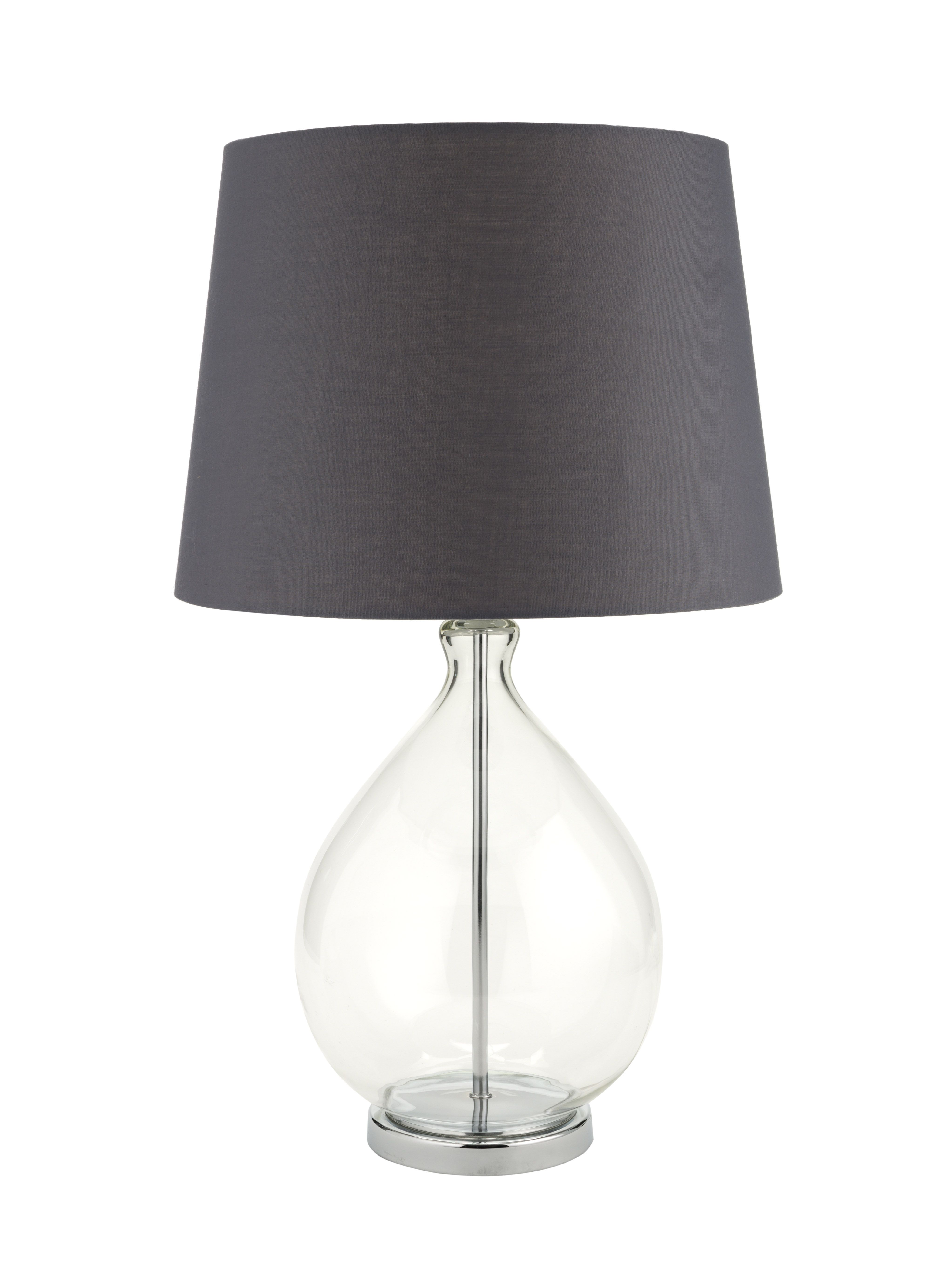 Glass exudes class in this simply elegant table lamp the neat glass exudes class in this simply elegant table lamp the neat grey shade looks lovely geotapseo Image collections