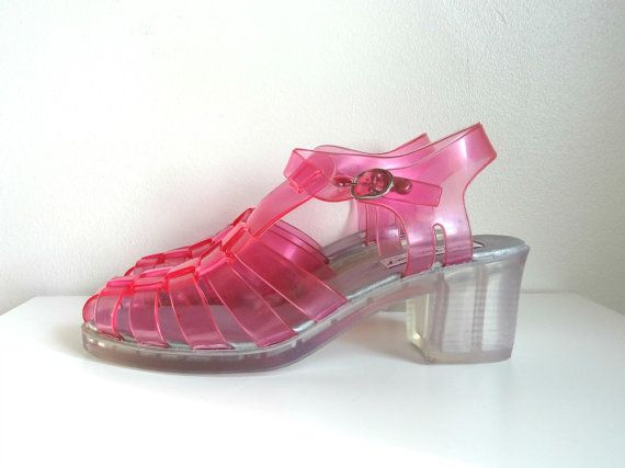 2b80323f14d6 90s Clear Pink Cut Out JELLY Sandal Platforms Size by lousybeatnik