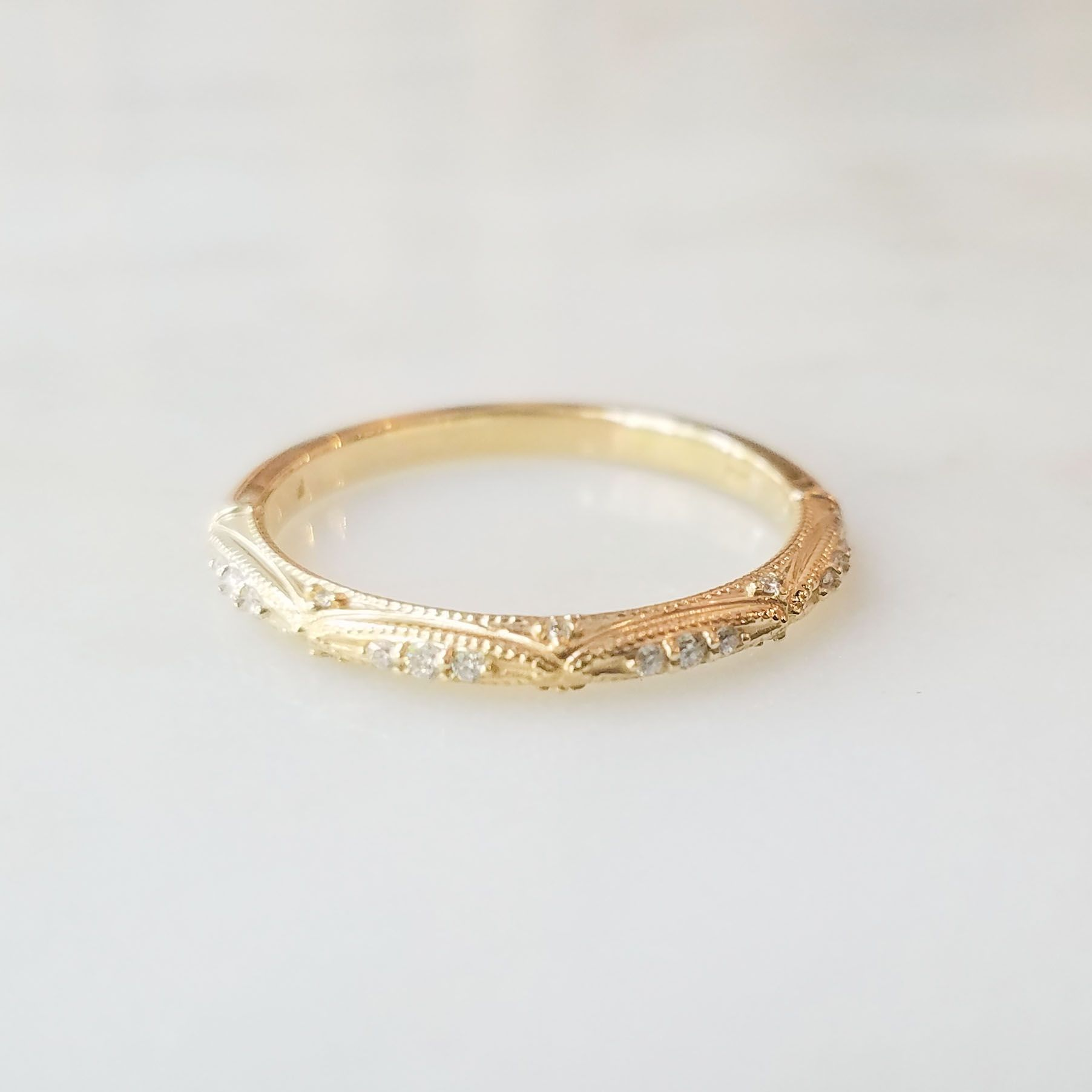 Vintage Style Yellow Gold Wedding Band Gold Wedding Bands Women Gold Wedding Band Yellow Gold Wedding Band