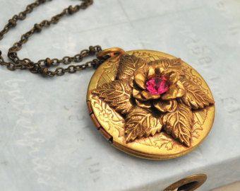ENCHANTED GARDEN vintage golden brass locket by junesnight on Etsy, $34.50