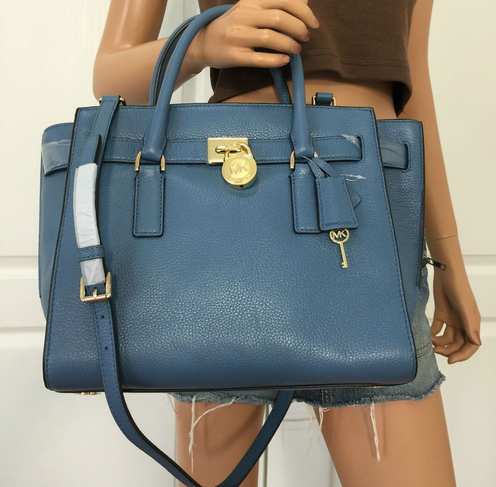 29f28f060ff2 NWT Michael Kors Hamilton Traveler Large Leather Shoulder Handbag Bag Purse  Blue  MichaelKors  TotesShoppers