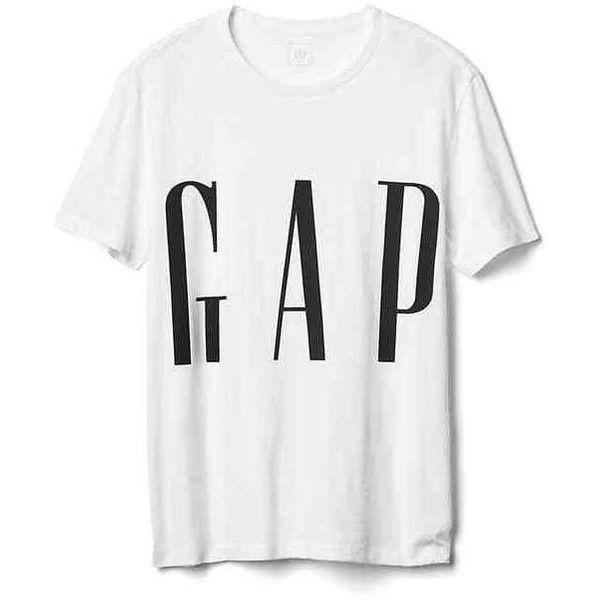 Gap Men Crop Logo Crewneck Tee ($30) liked on Polyvore featuring men's fashion, men's clothing ...