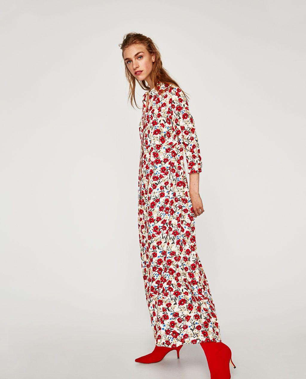 Robe longue imprime floral zara