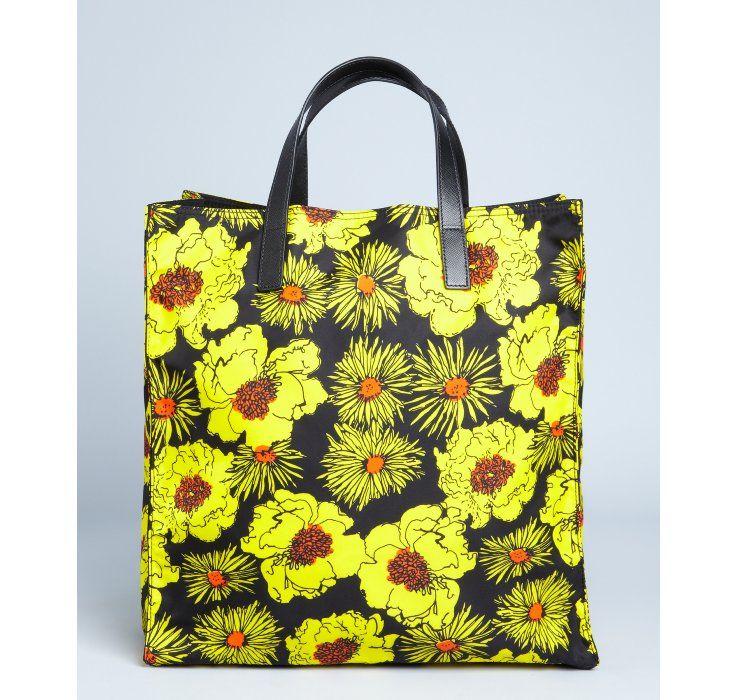 5fee988157cf Prada yellow floral print nylon tote | If only I had the money ...