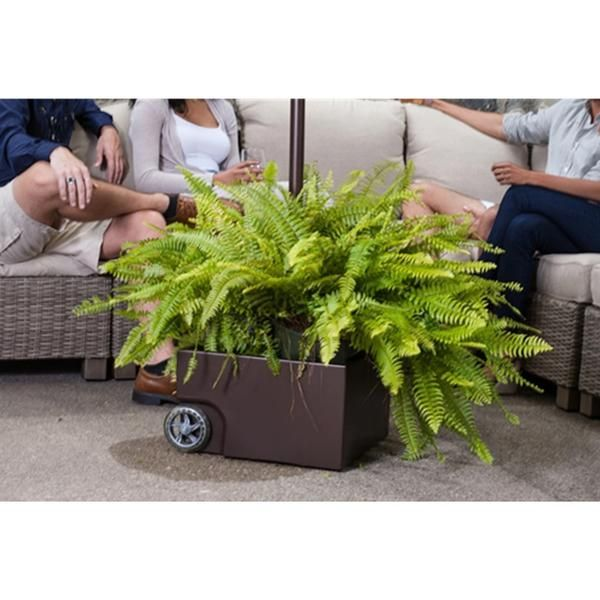 Steel Patio Umbrella Stand/Planter with Two Wheels