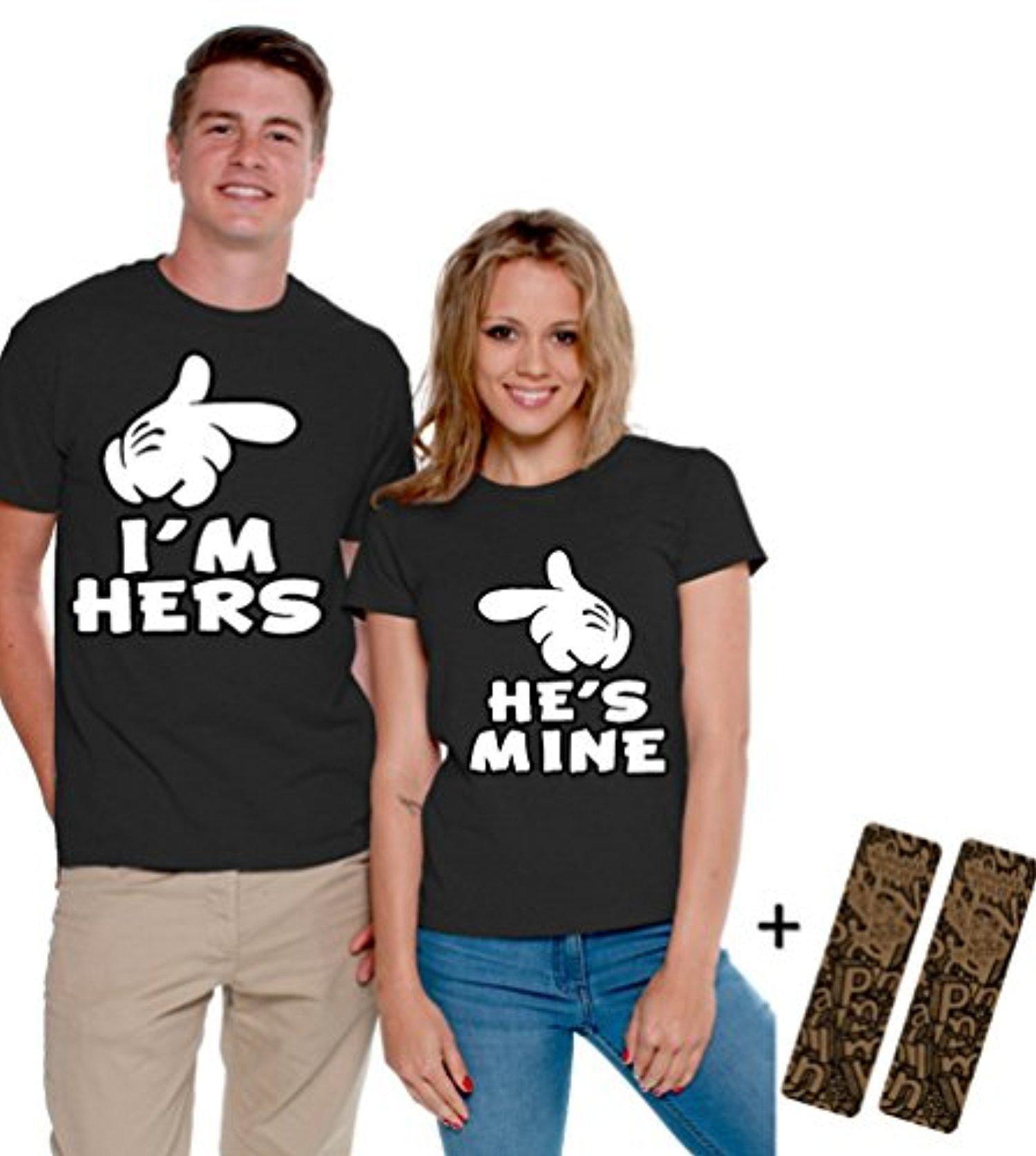 He/'s Mine Cartoon Hands Crewneck Couples Matching Valentine Day Anniversary Gift