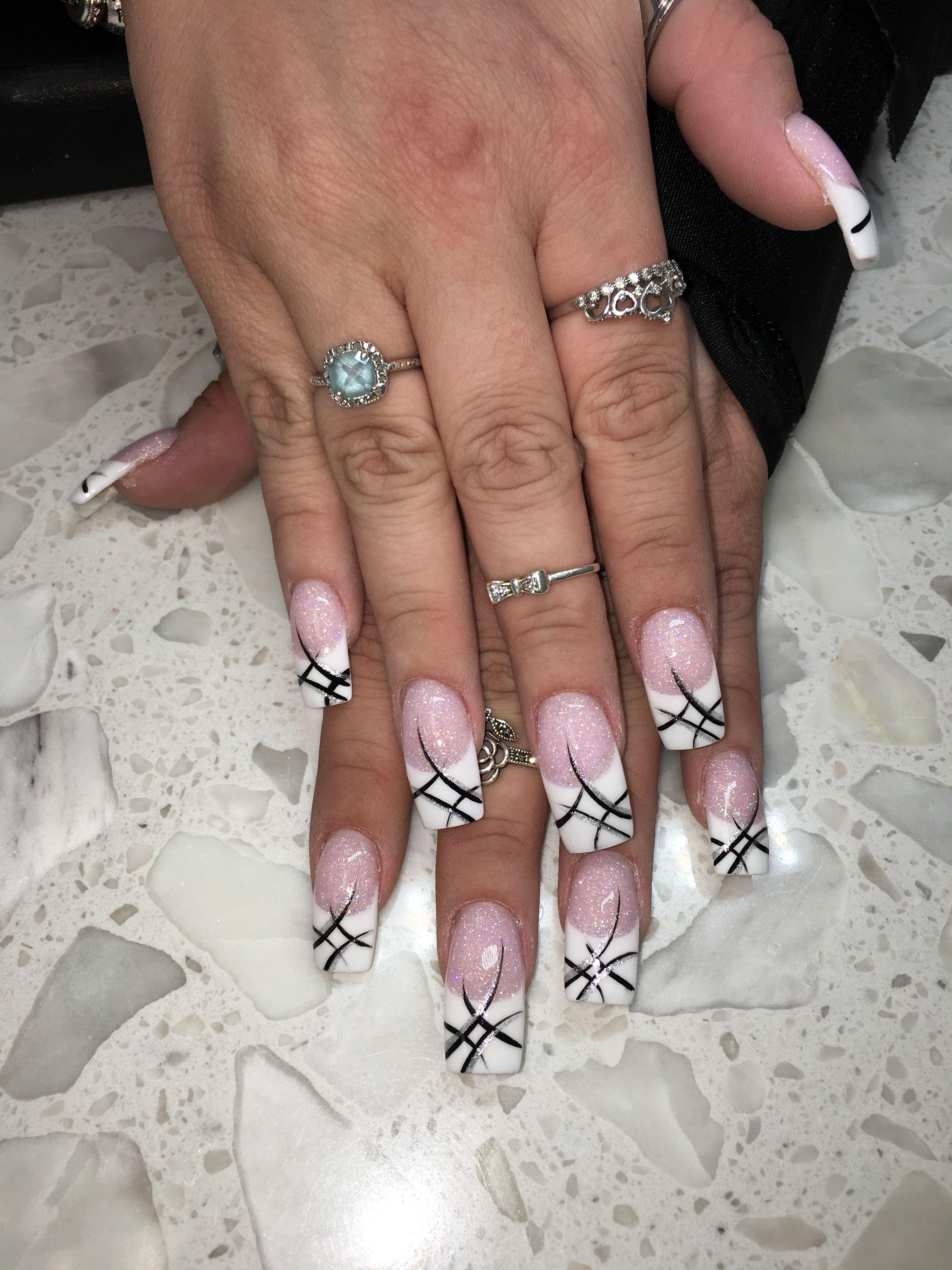 Pink And White Nail Design Nail Art Anc Glitter Black White Nails