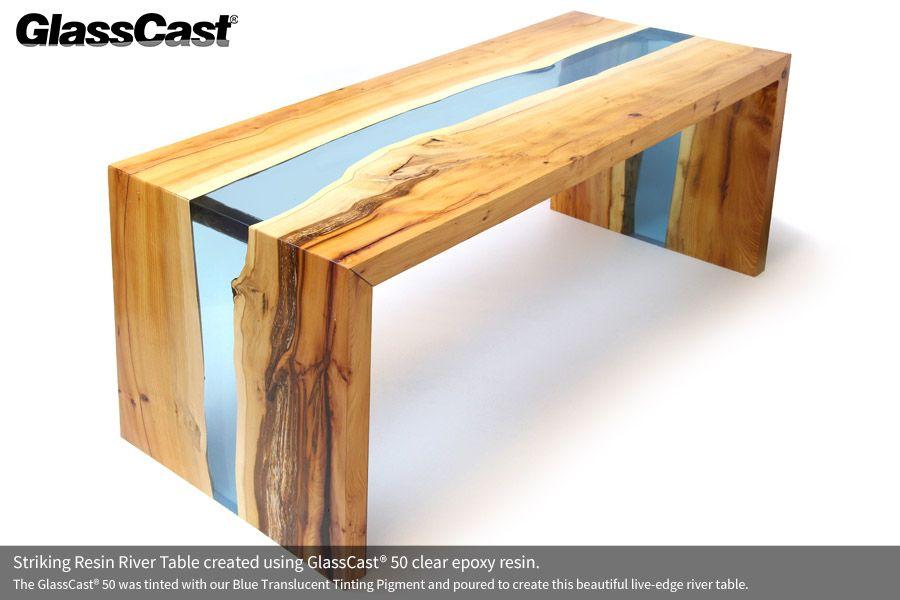 Incredible Striking Waterfall Effect Resin River Table Created Using Cjindustries Chair Design For Home Cjindustriesco