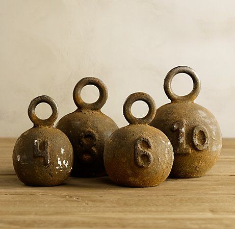 Cast iron Fishing Weights from Restoration Hardware can also act as good paper weights. ($99)