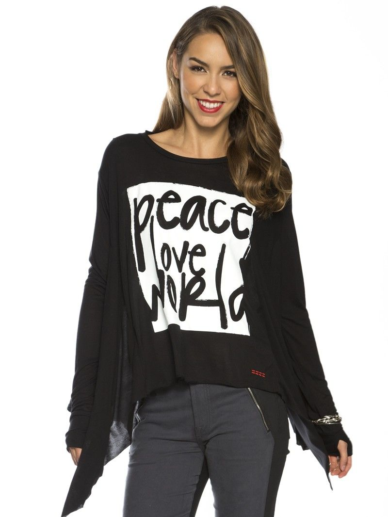 Peace Love World Black Skinny Parachute Fashion Top