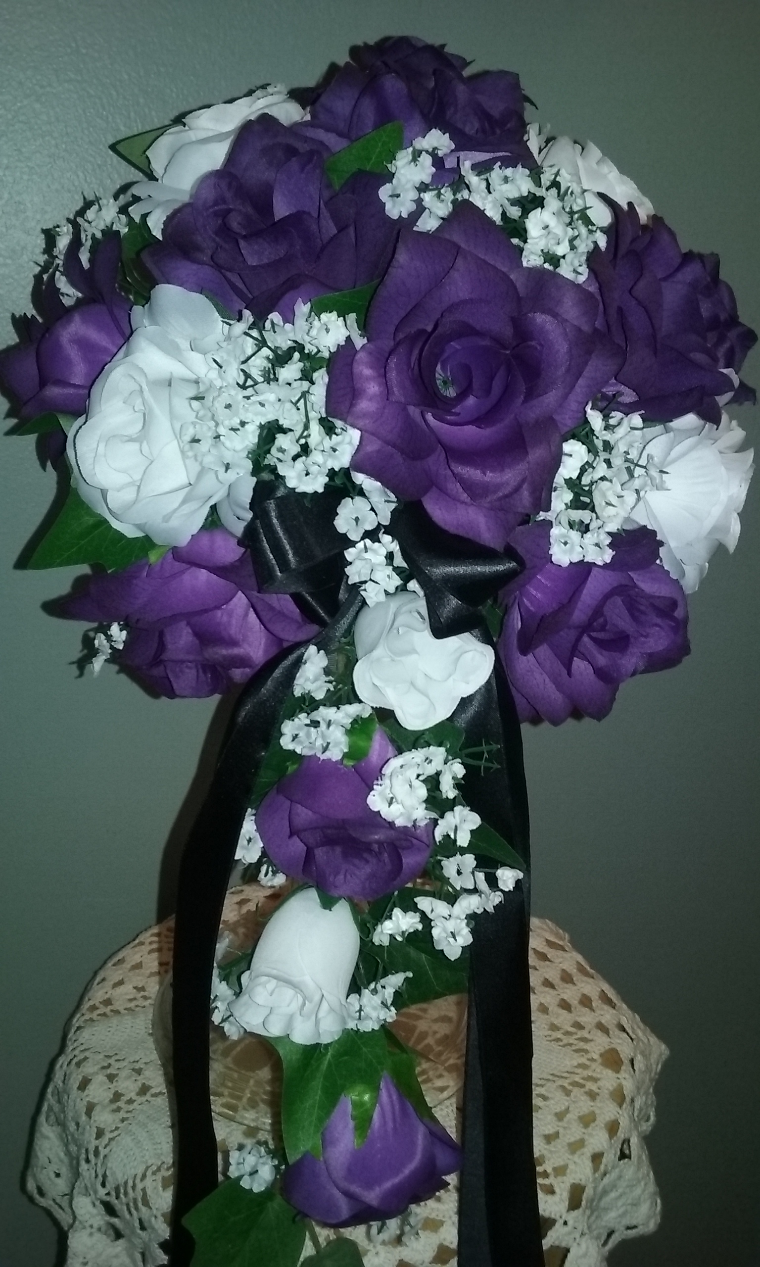 Silk Wedding Package Deal I Made With Purple And White Roses Baby S Breath And Greens Col Cheap Wedding Packages Cheap Wedding Bouquets Silk Bridal Bouquet