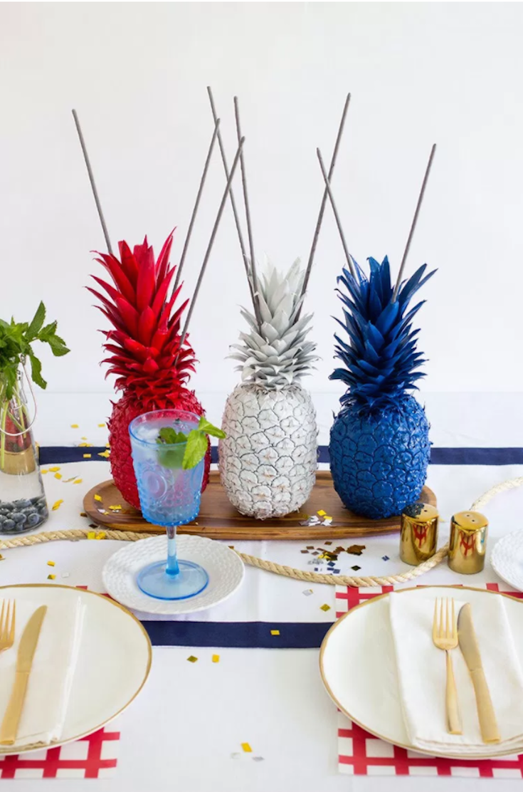 4th of July Pineapple Sparkler Centerpieces | Blue party, Red white ...