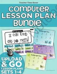 Computer Lab Lesson Plans Bundle (Sets 1-4) from KindergartenWorks on TeachersNotebook.com -  (36 pages)  - Ready to go standards-based lesson plans with internet links easy for kindergartners to use. A year's worth of kindergarten computer lesson plans ready to go!