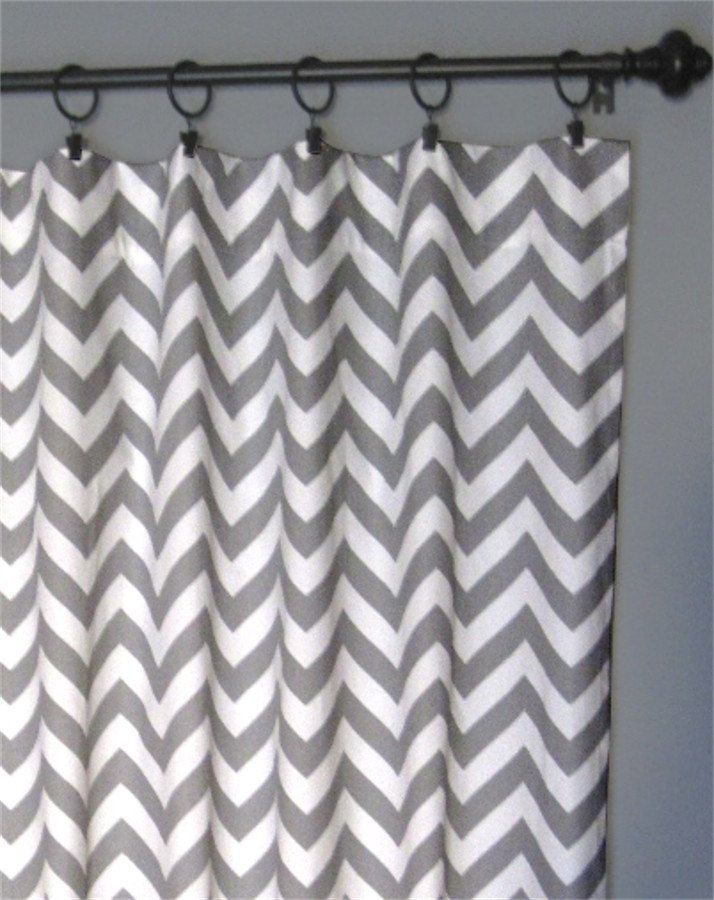 108 Grey Zig Zag Curtains Two Chevron Curtain Panels 50 X108 Free Shipping 130 00 Via Etsy