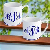 12 ounce 2 Piece Mug Set with Personalized Monogram