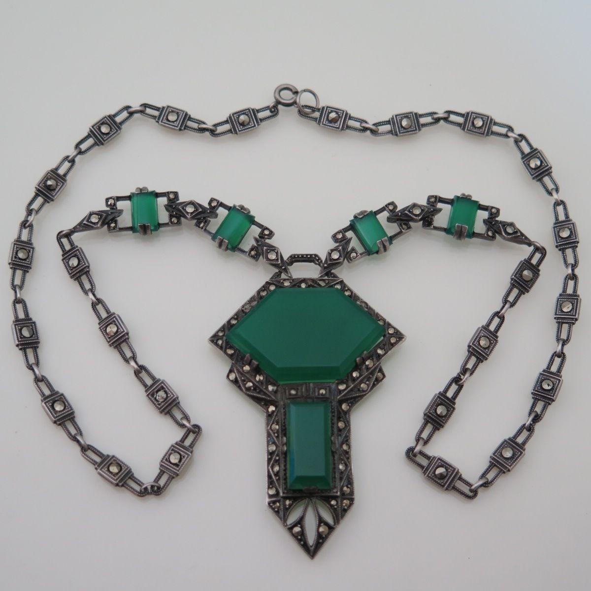 Vintage Art Deco Sterling Silver Natural Chrysoprase Marcasite Pendant Necklace | eBay - fantastic chain!