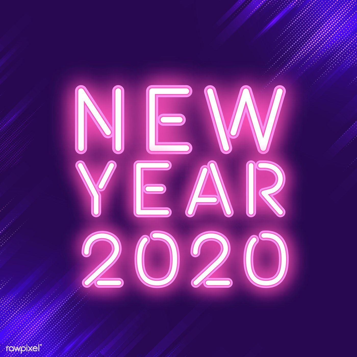 Pink new year 2020 neon sign vector free image by