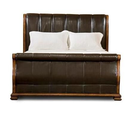 Larkspur Leather Sleigh Bed In Burnished Caramel Finish