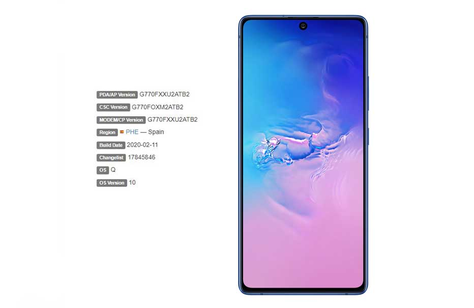 Samsung Galaxy S10 Lite February 2020 Security patch rolls