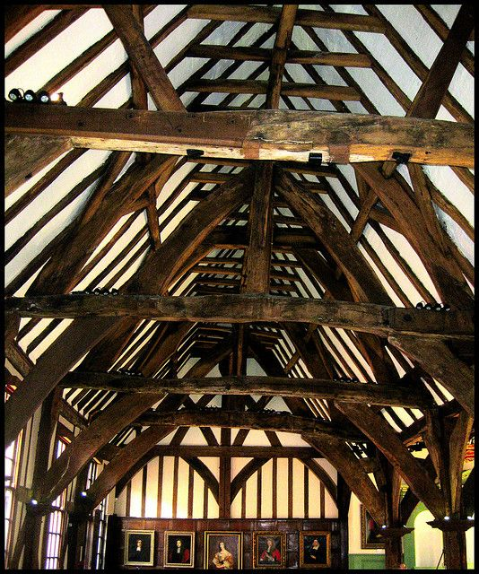 The mostly original 14th Century roof of the Hall...the timbers are at least 750-800 years old!
