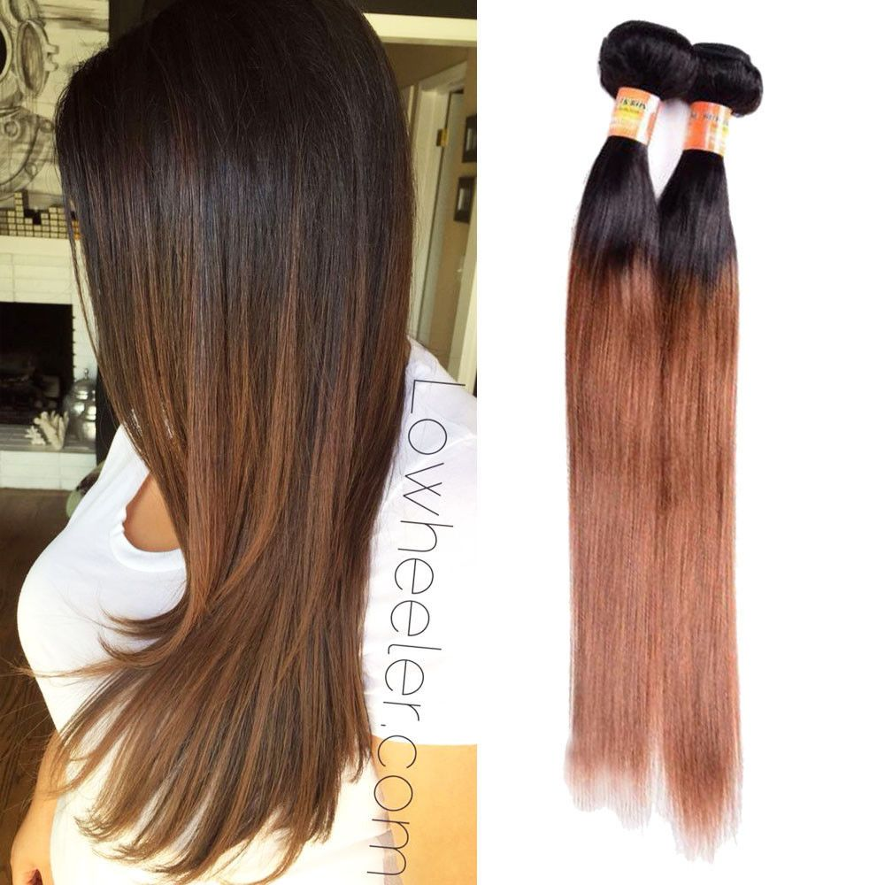 3bundles 16 300g Real Human Hair Extension 1b30 Silky Straight