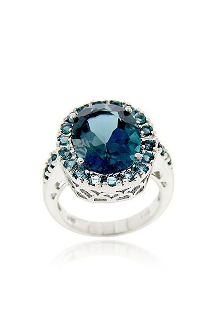 925 Sterling Silver Diamond Accents 7 3//4 NEW Blue Topaz Heart Cocktail Ring