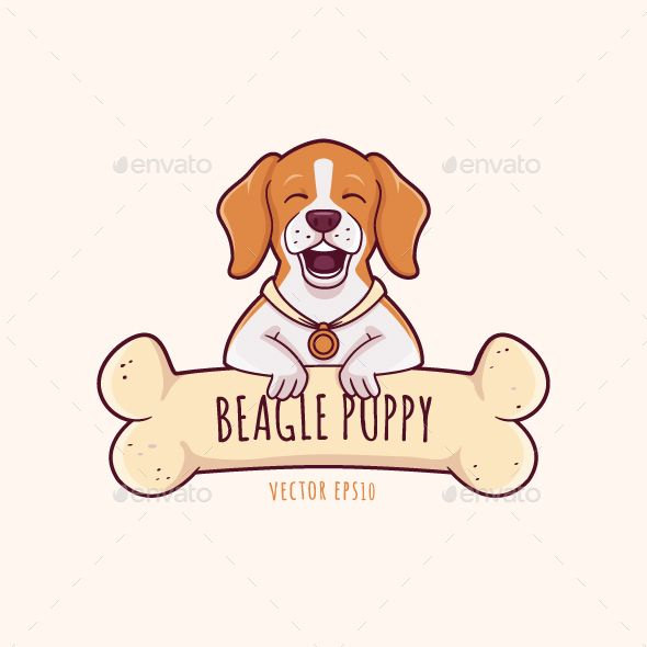 Happy Beagle Dog Puppy With Chewing Bone Vector Cartoon
