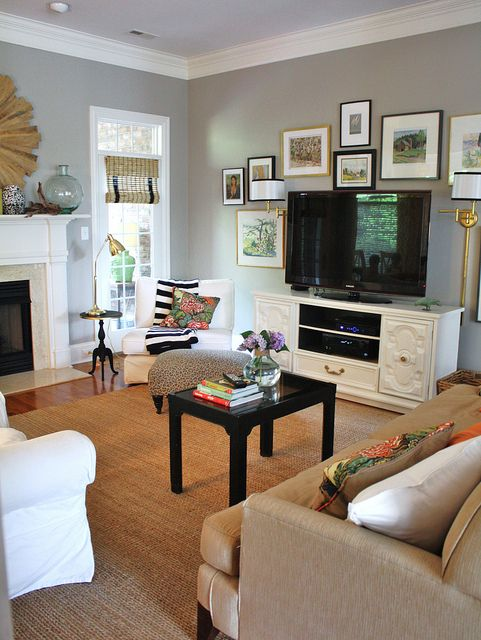 furniture placement living room fireplace tv extra large chairs livingroom 2 home decorating ideas pinterest 60 romantic with round decor gallery wall around the mismatched frames