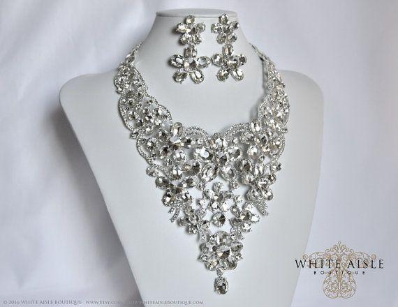 Wedding Jewelry Set Crystal Bridal Statement by WhiteAisleBoutique
