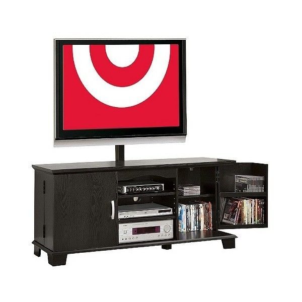 Wood Storage TV Stand With Mount ($272) ❤ Liked On Polyvore Featuring Home,