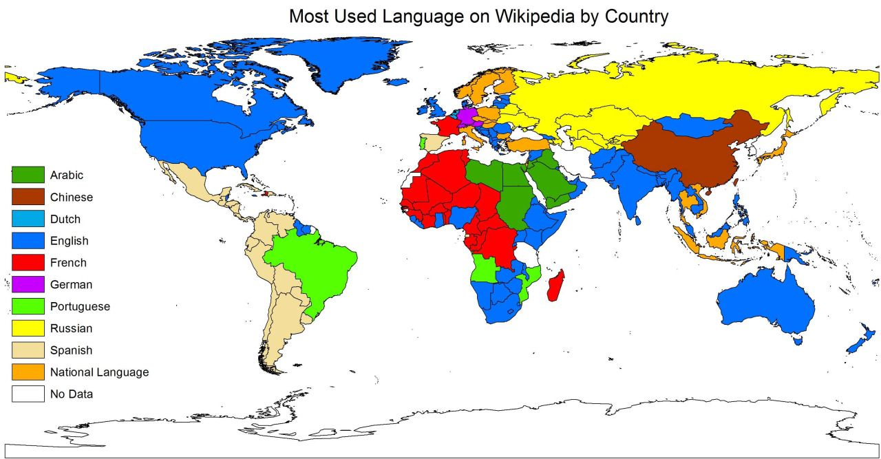 Most used languages on Wikipedia by country. | Maps | Pinterest ...