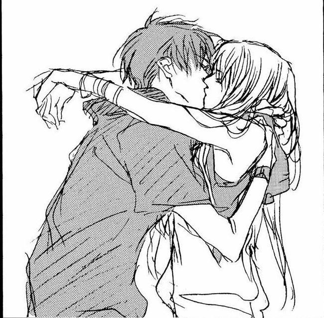 Anime Characters Kissing Drawing : Girl and boy hugging drawing images pictures becuo