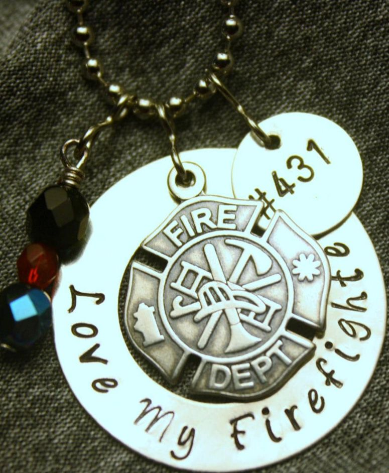 Fire Department Maltese Cross Necklace: Hand-Stamped 'Love My Firefighter' Necklace (with A