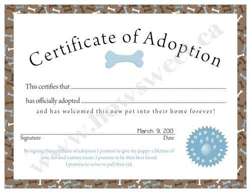 Puppy Adoption Certificate Pink or Blue Adoption certificate - Birth Certificate Template Printable