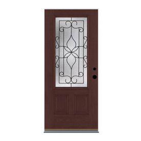 3 4 Lite Decorative Mahogany Prehung Inswing Fiberglass Entry Door Common 36 In X 80 In Actual 37 5 In X 81 5 Entry Doors Fiberglass Entry Doors Therma Tru