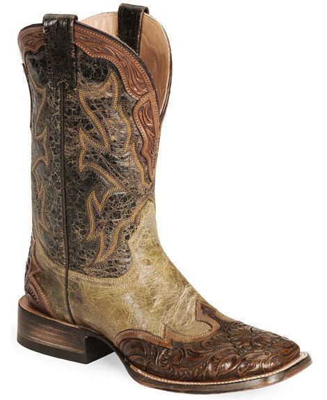 1aad227d73 Stetson Mens Colton Maddog with Tan Brown Tooled Wingtip Square Toe Western  Boots
