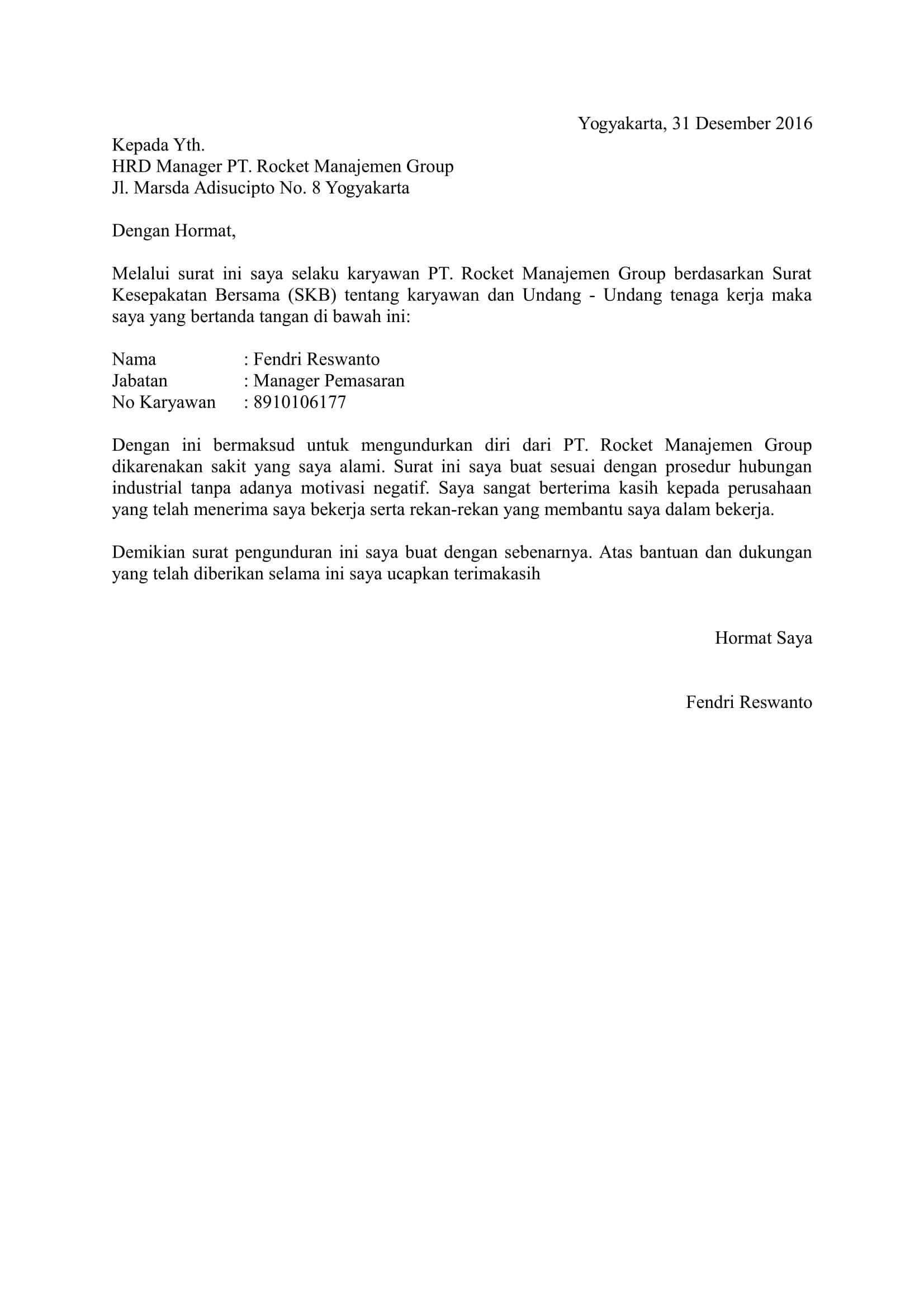 pengundurandiri Surat, Pendiri, Tanda