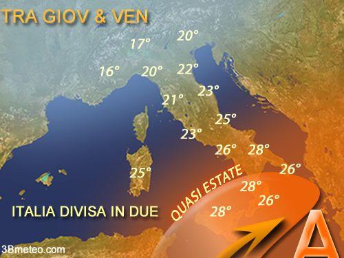 Italia divisa in 2 dal punto di vista meteo questa metà di Maggio. Maltempo a Nord e quasi estate al Sud