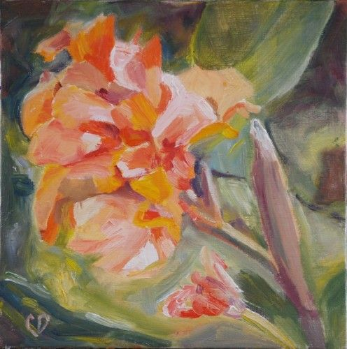Canna Flower Impressionistic Painting