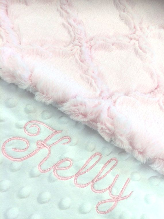 Minky Hot Pink with White minky Fur Blanket with name Plush Birth Stats Newborn Personalized Baby Girl Faux Fur Monogrammed Baby Blanket