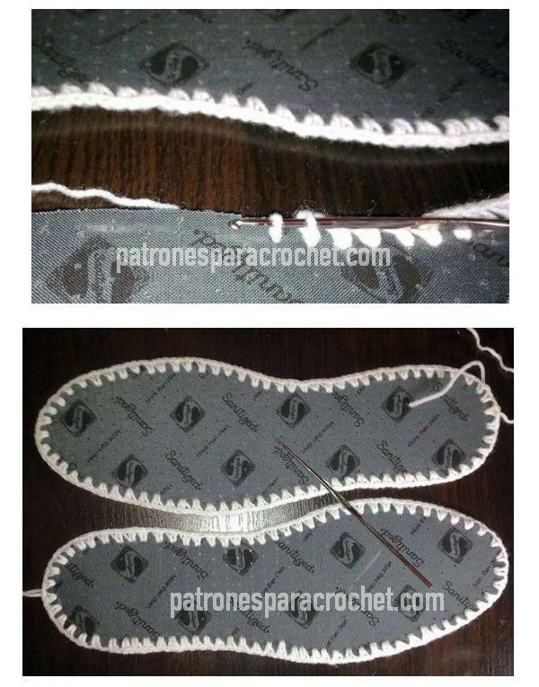 plantillas para usar en pantuflas con borde perforado y tejido a ...