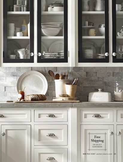Pottery Barn White Kitchen Cabinets With Black Doors Grey Backsplash And Counter